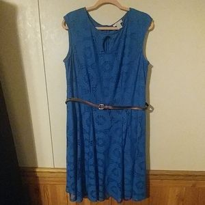 Blue lace belted dress with a keyhole neck.
